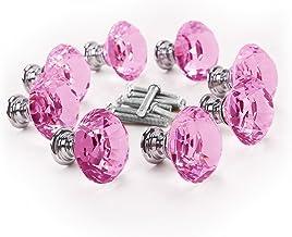 WINOMO Diamond Crystal Glass Deurknop Keuken Kast Kast Garderobe Lade Pull Handvat 8 stks/set 30 mm (Roze)