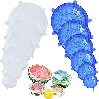 DigHealth 12 Pièces Couvercles en Silicone, Couvercle Extensibles en Silicone sans BPA, Couvercle Universel de 6 Tailles D...