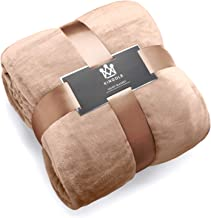 Kingole Flannel Fleece Microfiber Throw Blanket, Luxury Brown Queen Size Lightweight Cozy Couch Bed Super Soft and Warm Plush Solid Color 350GSM (90 x 90 inches)