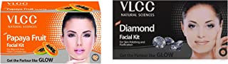 VLCC Papaya Fruit Facial Kit, 60g and VLCC Diamond Facial Kit, 50g+10ml