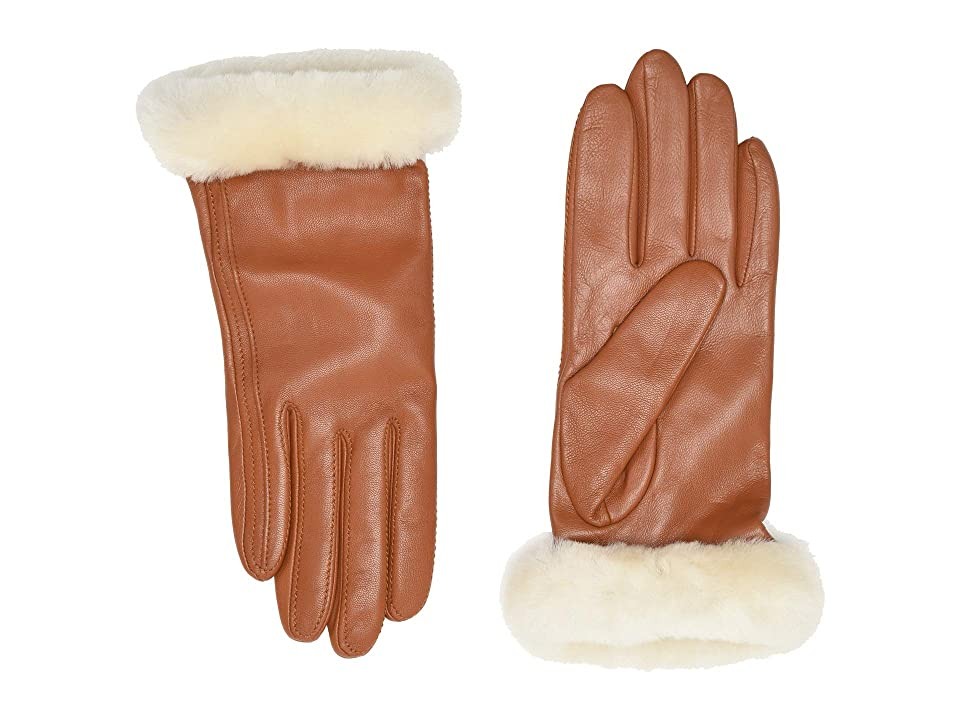 UGG Classic Leather Shorty Tech Gloves (Chestnut) Extreme Cold Weather Gloves