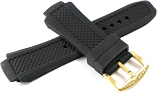 19MM Black Silicone Band Strap & Gold Stainless Buckle fits 53mm Neptune Watch