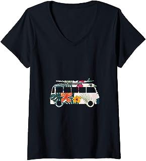 Womens Colorful flowers hippie lifestyle surfer van graphic image V-Neck T-Shirt