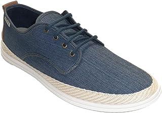 Sneaker da Uomo in Tela di Canapa con Lacci Muro Blu