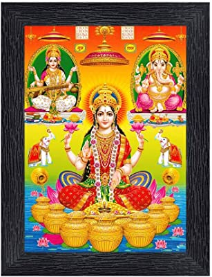 PnF Diwali Puja (laxmiji, Ganeshji,Saraswatiji) Religious Wood Photo Frames with Acrylic Sheet (Glass) for Worship/Pooja(photoframe,Multicolour,8x6inch) 22411