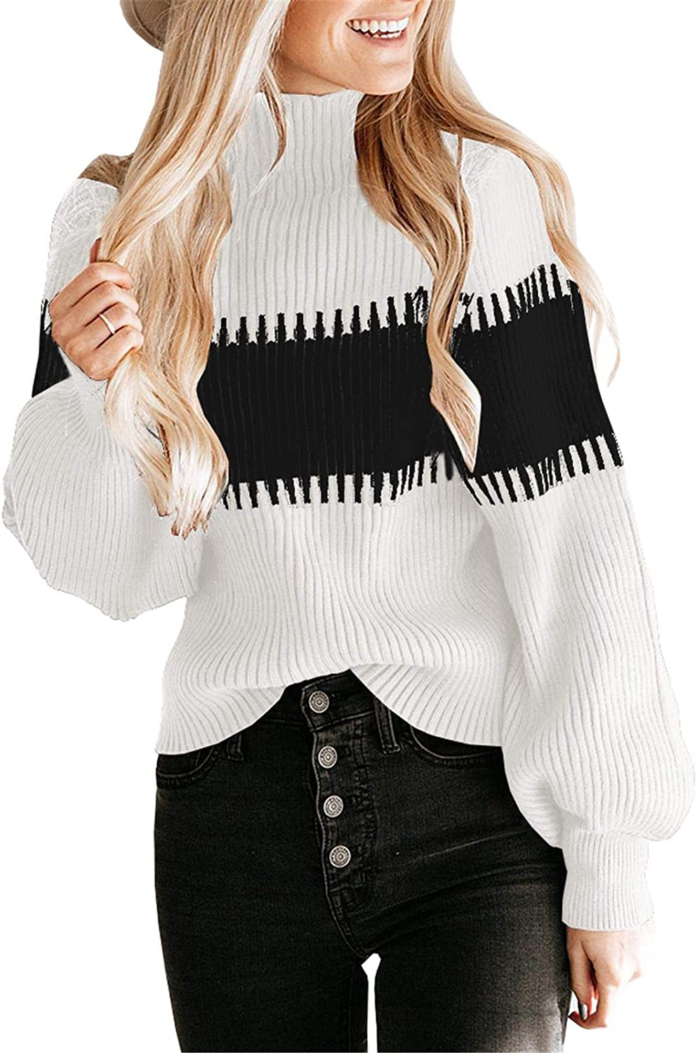 Imysty sold out San Diego Mall Womens Turtleneck Sweaters Long Casual Color Sleeve Block