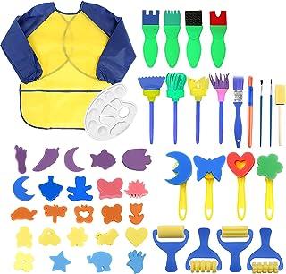 47 Pièces Éponge Brosses de Peinture Enfant DIY Kit de Peinture pour Enfants avec Peinture Enfant Tablier pour Enfants Mat...