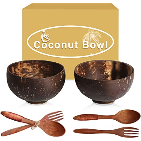 set 2 bowls regular texture and smooth shine coconut shell bowl free 2 large spoons,none chemical no coating,vegan bowl