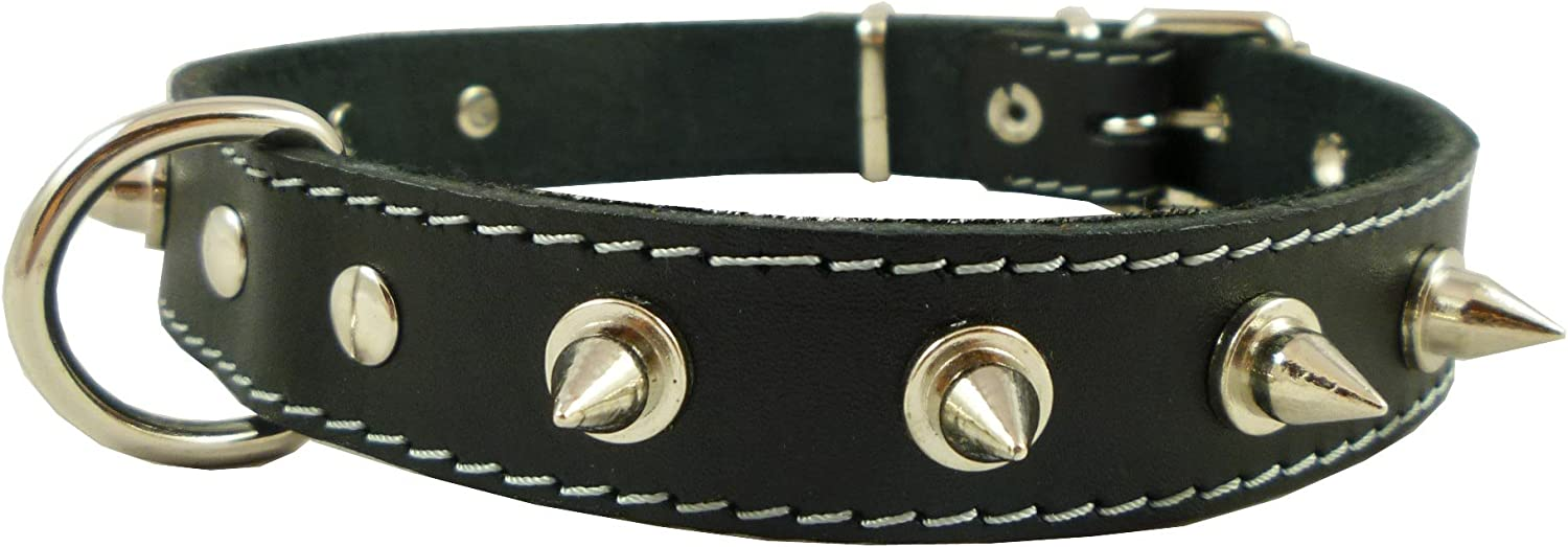 Real Leather Black Spiked Dog Collar Spikes, 1  Wide. Fits 14 17  Neck, Medium Breeds.