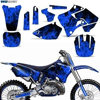Yamaha YZ125 YZ250 1996-2001 Graphics Kit MX Dirt Bike Backgrounds YZ 125 250 FLAMES BLUE