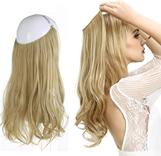 Short Blonde Hair Extensions Halo Wire Sercet Crown Synthetic Wavy Curly Hairpieces For Women Invisible Heat Resistant Fiber 14
