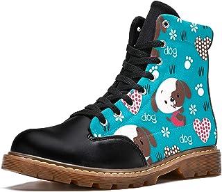 LORVIES Dessin animé Mignon Chien Amour Coeur Floral Bottes d'hiver Chaussures Montantes en Toile à Lacets pour Hommes