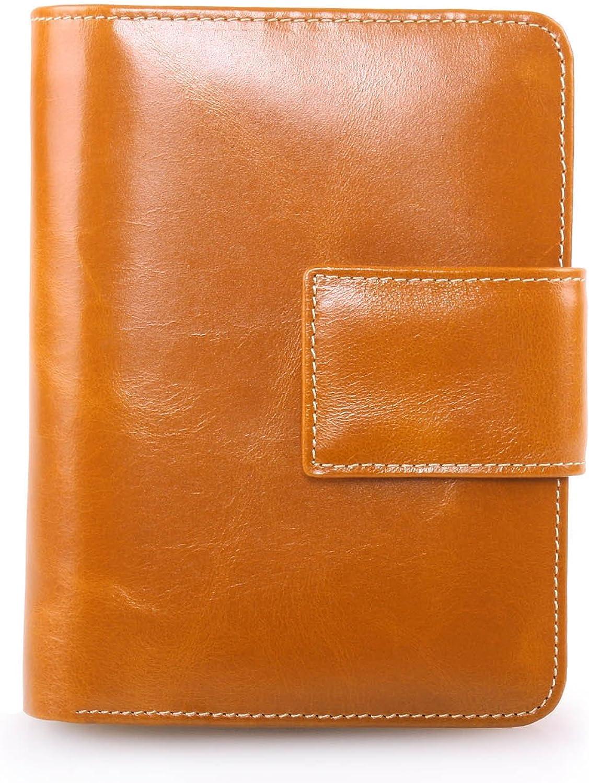 AINIMOER Women's Small Genuine Leather BiFold Wallet Multi Card Organizer Pocket with Zipper