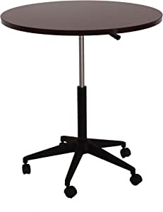 """Boss Office Products Mobile Table, 32"""", Round, Mahogany"""