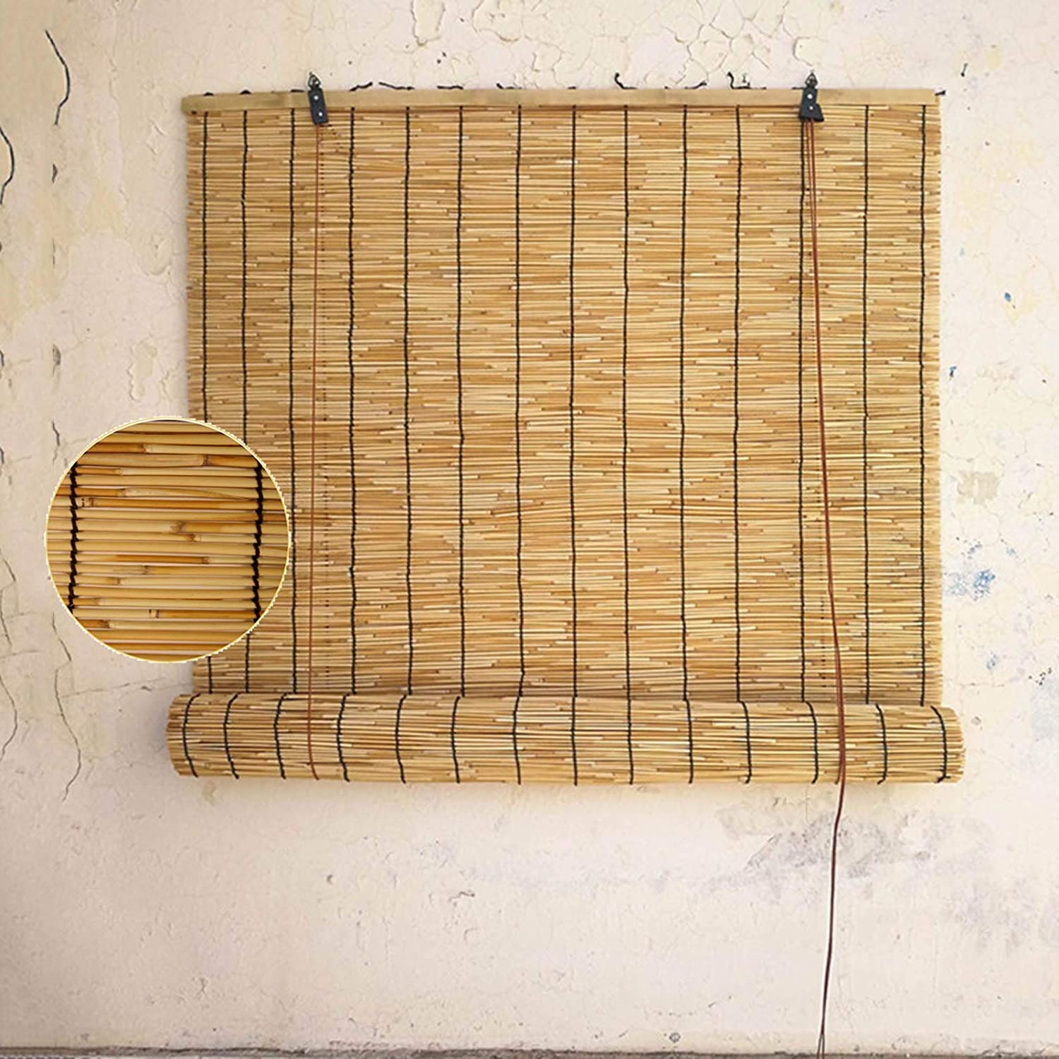 Reed Roll Up Shades-Bamboo Curtain-Roman Blinds,Outdoor Sunshade,Breathable And UV-Proof Roller Blinds,External/Internal Retro Decorative Natural,Reed Blinds for Windows,60x60cm/23.5x24in