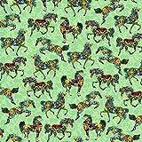 Fat Quarter Patchworkstoff, bemalte Ponys, 100 % Baumwolle,