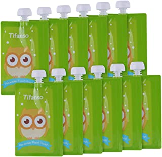 12 Pack 7 oz Owl Reusable Baby Food Squeeze Storage Pouches for Homemade Organic Baby, Toddlers, Kids Food - Easy to Fill ...