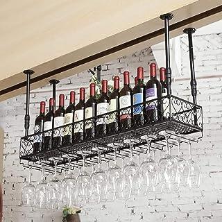 Casier à vin Supports À Vin Muraux Industriels En Métal Vintage Bar, Réglable En Hauteur, Support Suspendu En Verre À Vin,...