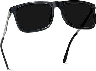 WearMe Pro - Flat Top Polarized Lens Square Black Sunglasses for Men