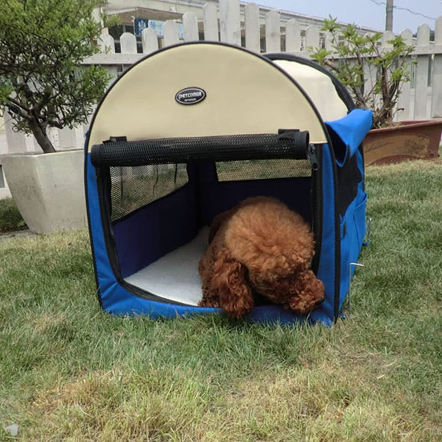 CHONGWU Pet folding tent Doghouse Portable pet cage Car kennel Steel dog cage Antimosquito dog cat litter