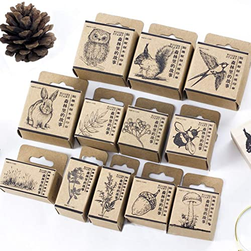 12pcs Wooden Rubber Stamps Animals And Plants Patterns Set For DIY Craft Card Scrapbooking Supplies