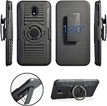 Compatible for Samsung Galaxy J3 Star 2018, Orbit, Achieve, J3V 3rd Gen, Express Prime 3, Amp Prime 3 (J337) Rugged Holster Armor Case with Finger Rotating Ring Kickstand, Belt Clip & Magnetic Plate