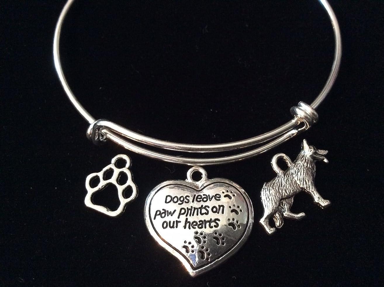 German Shepherd Dogs Leave Paw Prints on Our Hearts Expandable SIlver Charm Bracelet Adjustable Bangle Pet Dog Bone