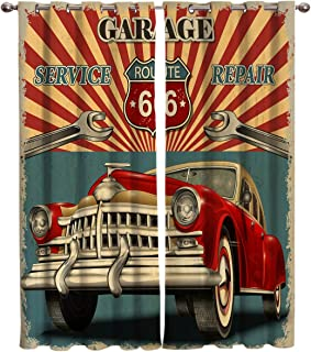 Edwiinsa Vintage Garage Repair Advertising Automobile Rustic Vehicle Kitchen Blackout Curtains Window Drapes Treatment, 2 Panels Set for Kitchen Cafe Office, 80W x 63L inch
