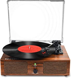 Vinyl Record Player Bluetooth Turntable with Built-in Speakers and USB Belt-Driven Vintage Phonograph Record Player 3 Spee...