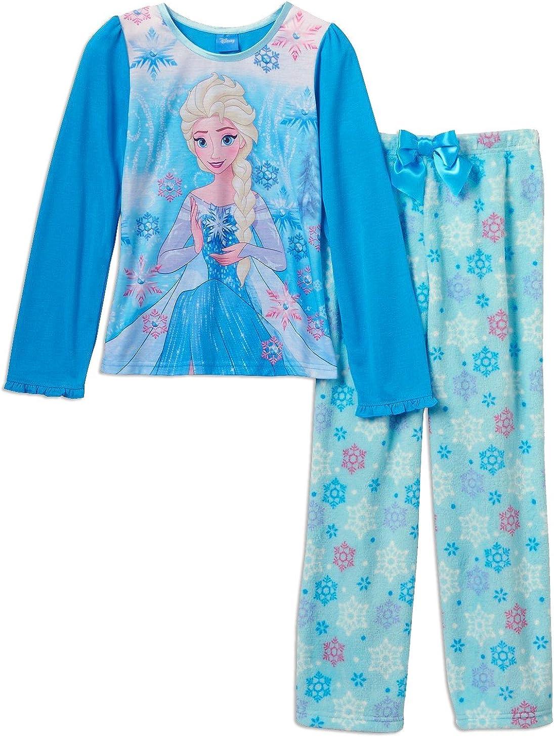 Frozen Elsa Anna Girls Poly Top Fleece Pants Pajamas, Sizes 4-10
