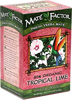The Mate Factor Yerba Mate Energizing Herb Tea, Tropical Lime, 20 Tea Bags (Pack of 3)