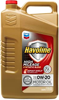 Havoline 0W20 High Mileage Synthetic Blend, 5 quart, 1 Pack