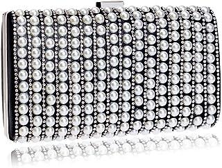 GLJJQMY Evening Bag Fashion Clutch Bag Pearl Wedding Dress Evening Dress Crossbody Bag Evening Bags (Color : Black, Size : 22x11.5x4.5cm)