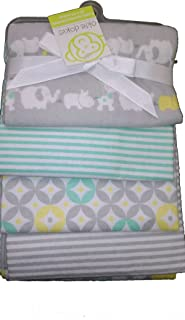 Okie Dokie Gray and Green Safari 4 Pack Receiving Blankets NWT