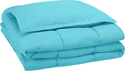 AmazonBasics Easy-Wash Microfiber Kid's Comforter and Pillow Cover Set (Pillow not included) - Single, Bright Aqua