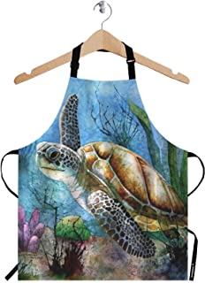 WONDERTIFY Sea Turtle Apron,Lonely Swim Oil Painting in Ocean Bib Apron with Adjustable Neck for Men Women,Suitable for Home Kitchen Cooking Waitress Chef Grill Bistro Baking BBQ Crafting Apron