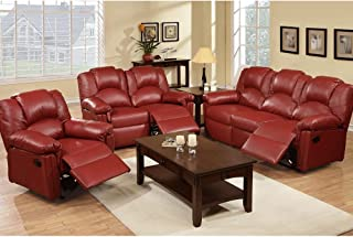 Amazon.com: Red - Leather / Living Room Sets / Living Room ...