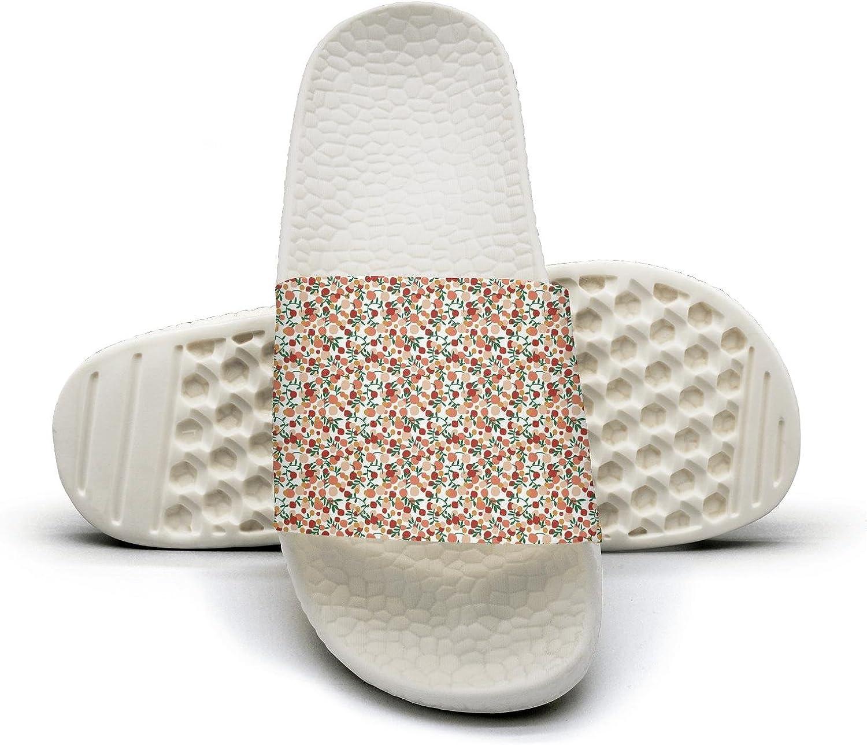 Slide Sandals For Women Embroidered Flower Apricot Stripe Indoor Bath Slipper Anti-Slip House San