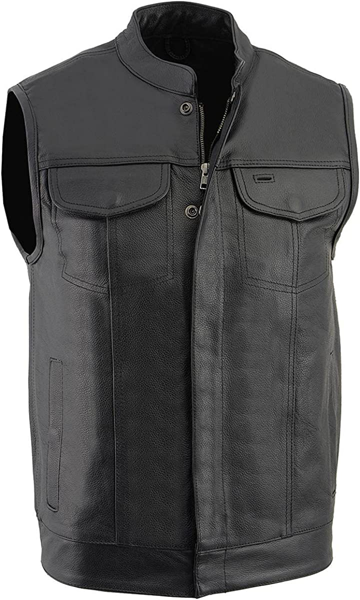 Milwaukee Leather LKM3710 Men's Black Club Style Leather Vest with Open Neck
