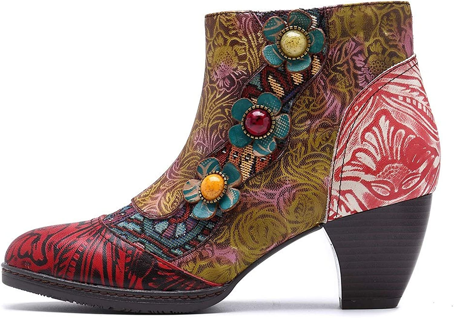 Leather Women's Boots Retro Ethnic Style Contrast color Bohemian with Denim Patchwork Leather Women's Boots (color   Green, Size   11.5US)