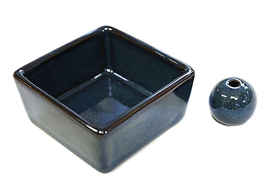 グレートオーク描写スチール和モダン 海鼠色 お香立て 陶器 角鉢 製造直売品