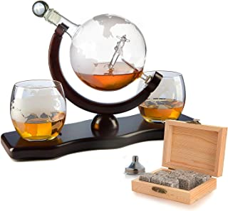 Etched World Decanter Whiskey Globe - Antique Airplane The Wine Savant 850ml, Whiskey Stones and 3 World Map 10 oz Glasses...