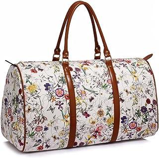 Anna Grace Vintage Reisetasche Blumenmuster Wasserdicht Weekender Tasche Duffle Bag Groß Wochenend Tasche Herren Damen Weiß