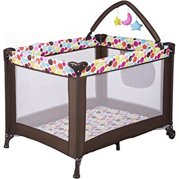 Costzon Baby Playard, Foldable Travel Bassinet Bed with Whirling Toys, Pocket, Wheels, Travel Ready with Oxford Carry Bag (Espresso)