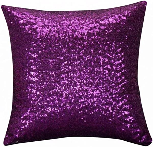 IRENE Home Decor Cushion Covers Solid Color Silver Glitter Sequins Throw Pillow Case Cafe Purple