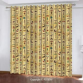 Satin Grommet Window Curtains Drapes [ Egyptian,Colorful Ancient Hieroglyphics on Papyrus Old Paper Style Background Cairo Culture,Multicolor ] Window Curtain for Living Room Bedroom Dorm Room Classro