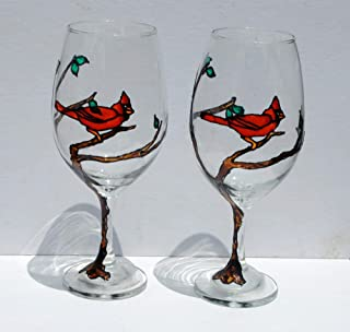 2 Red Cardinal Bird in a Tree Hand Painted Wine Glasses Set