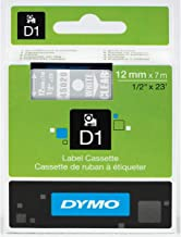 DYMO Standard D1 Labeling Tape for LabelManager Label Makers, White print on Clear tape, 1/2'' W x 23' L, 1 cartridge (45020)