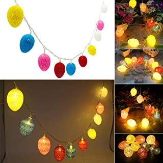 Lhomeled Easter Egg LED String Light by Battery Operated Fairy String Lights with Warm White Light Up 10 Cotton Eggs Ornament for Easter Decoration Garden Spring and Easter Tree Decoration 6.5ft