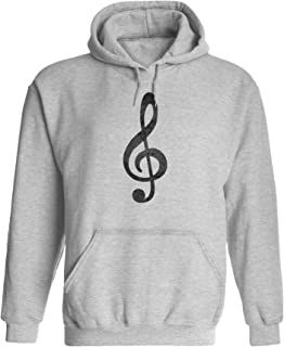 Austin Ink Apparel Unisex Mens Music Treble Clef Print Pullover Hooded Sweatshirt